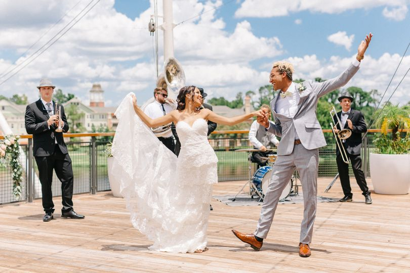 Couple dances to Brass Band