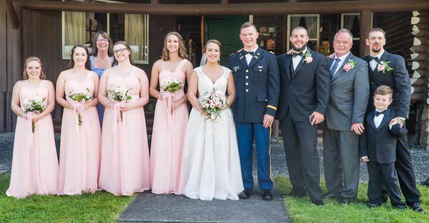 Bridal party at main lodge