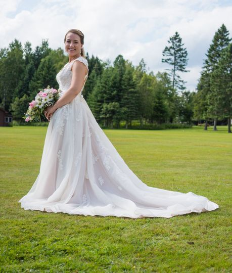Bride on the beautiful lawns