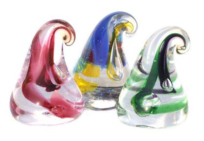 These beautiful colorfully-swirled drops of glass are individually hand made by an American...