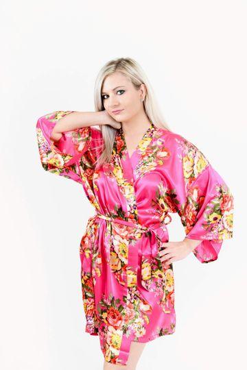 Hot Pink Floral Bridal Robe