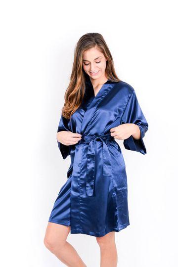 Navy Bridal Robe