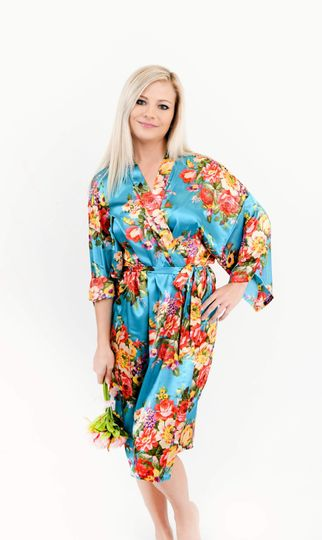 Turquoise Floral Bridal Robe