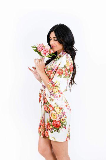 White Floral Bridal Robe