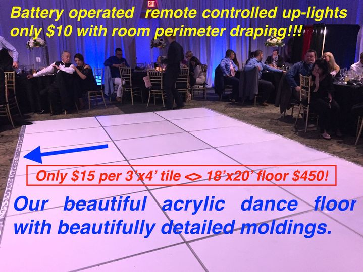 Our white acrylic dance floor is very affordable and can be packaged with draping and or up-lighting...