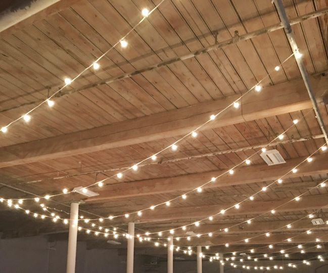 Edison lights and exposed beams