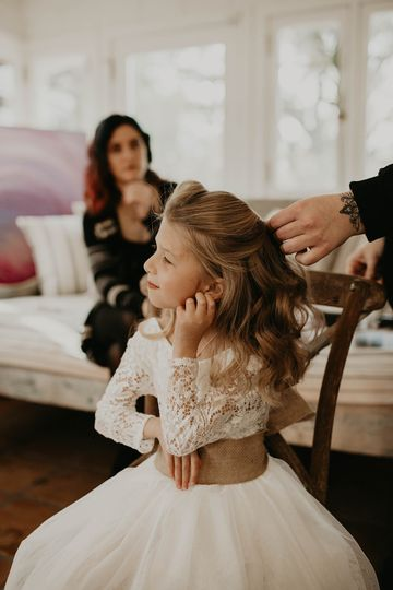 Flower girl's hair and makeup