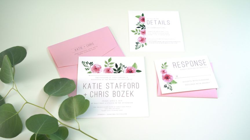 Pink and green invitation suite