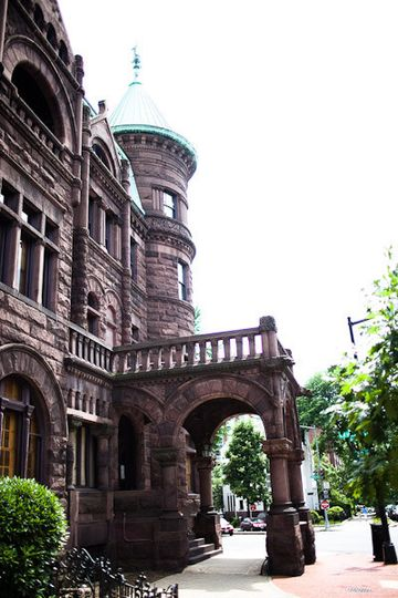 The exterior of the Heurich House Museum. Your wedding party and guests will pass under the original...