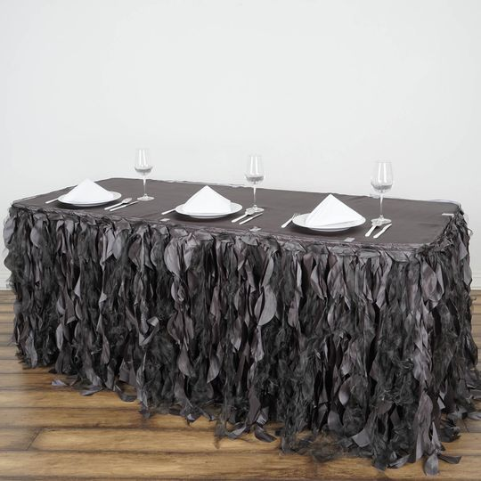 Curly willow black table skirt