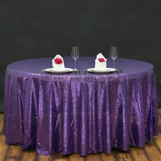 Purple sequin round tablecloth
