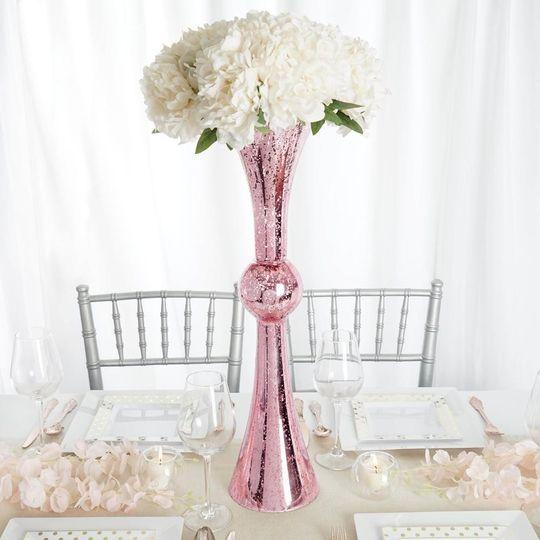 Rose gold metallic flower vase
