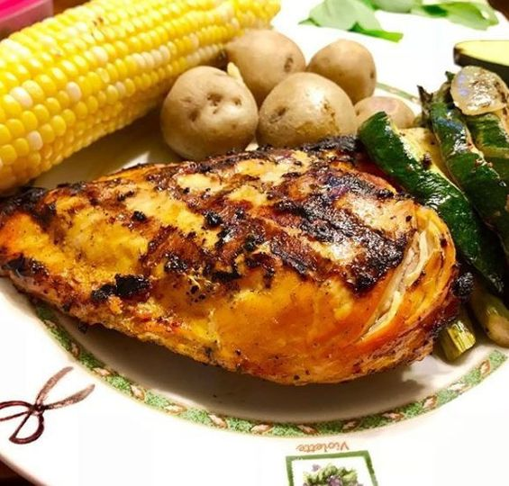BBQ chicken, corn and potatoes