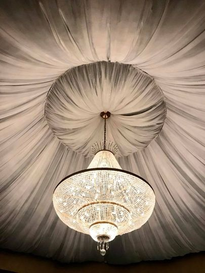 Atrium draping & chandalier