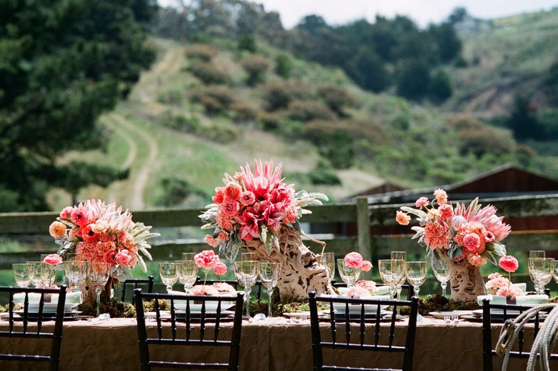 Reception table and floral decor