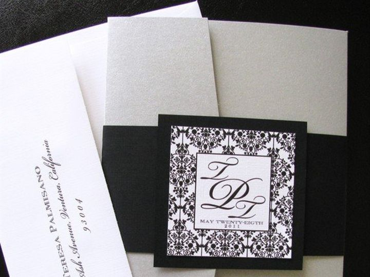 Tmx 1341598873255 BWDamaskPocketFolder1 Ventura wedding invitation