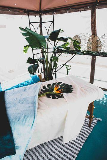 Massage in the Caribbean-insipred backyard
