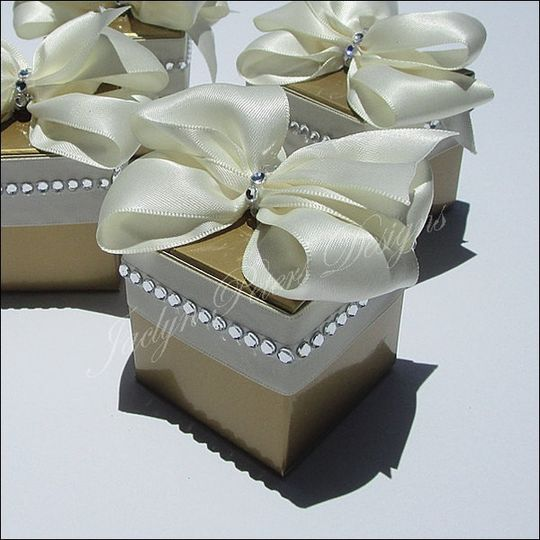 Golden glam is accented with your choice of ribbon color and real silver bling rhinestones!