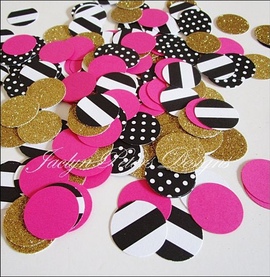Best Seller! Our handmade bachelorette party confetti in polka dots, stripes, hot pink and premium...