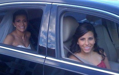 Bride- Fari leaving her home and headed off to get married. Maid of Honor, sister in the front...
