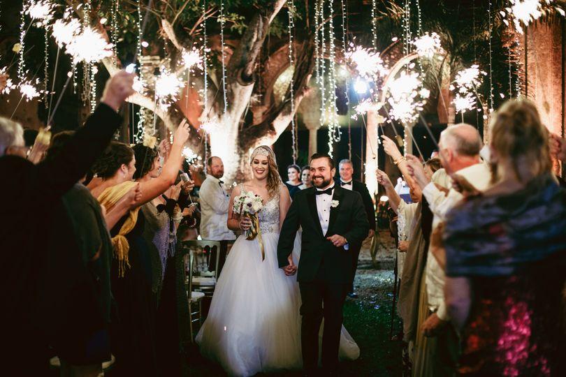 Wedding exit at Hacienda Teya