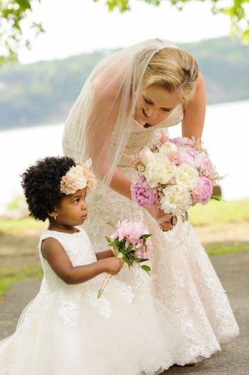 Happy bride with child