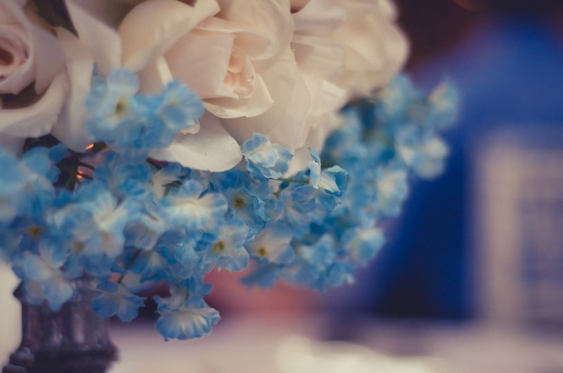 Blue and white arrangement