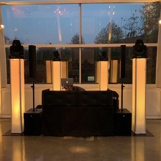 DJ setup and lighting