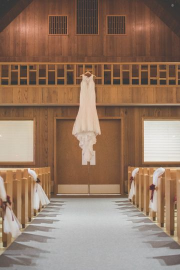 Wedding dress in the church