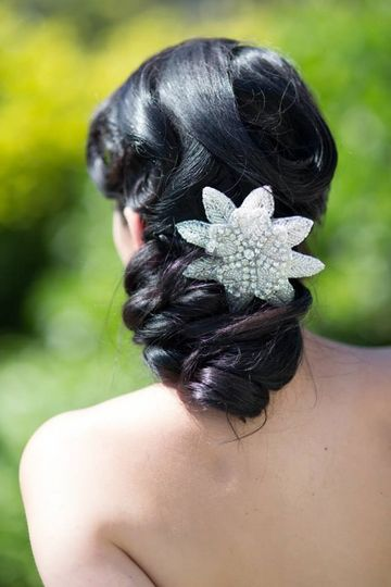 Wedding updo with accessory