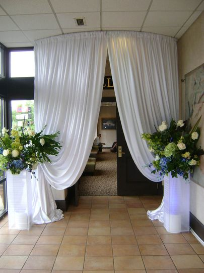 Drapery and flowers