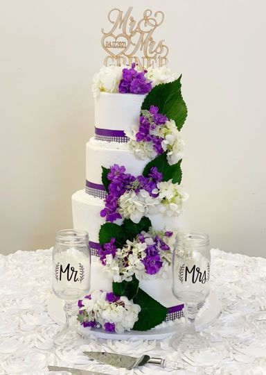 Purple/White Cascading Flowers