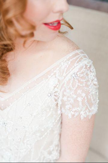 lace red lipstick bride