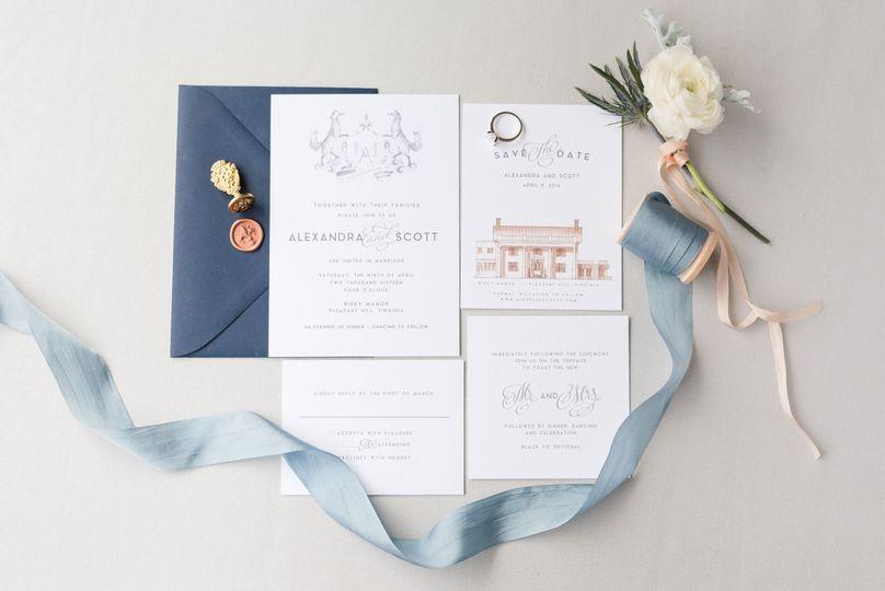 navy french blue ribbon wedding invitation suite w