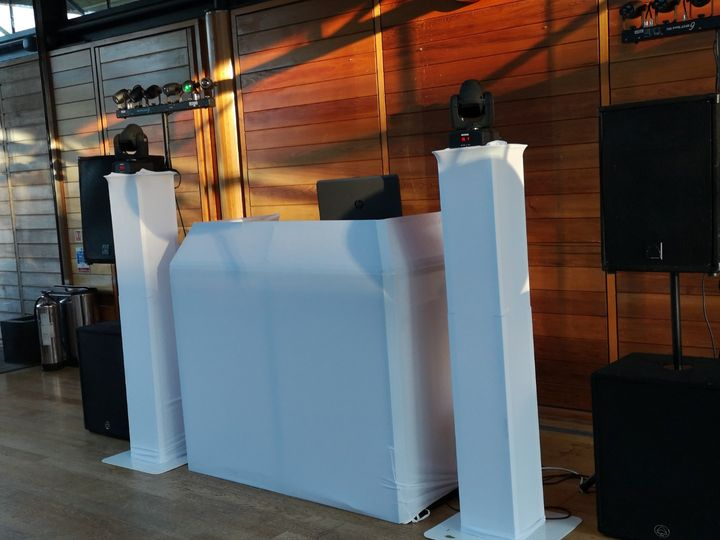 White booth and podiums