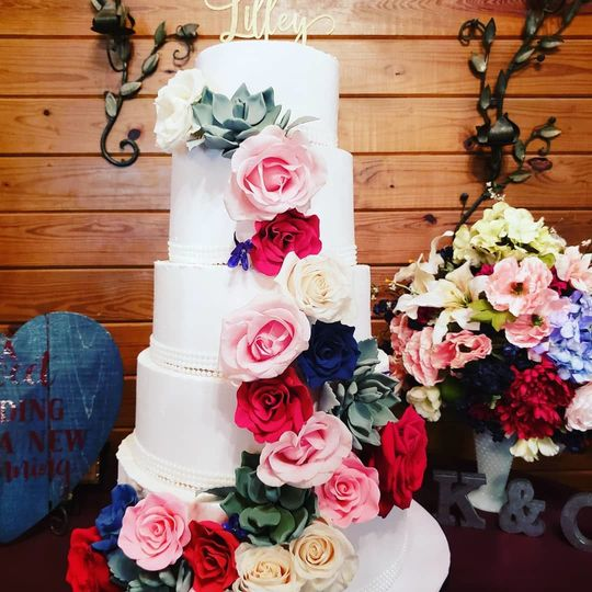 5-tier floral wedding cake
