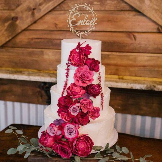 Pink floral wedding cake