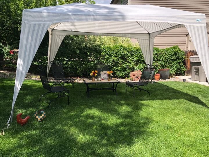 Backyard bridal shower tent