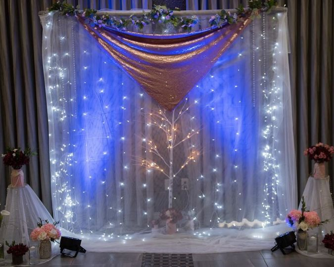 Reception lighting and backdrop