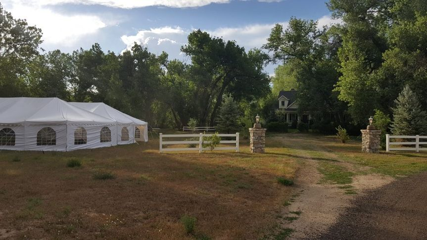 Reception tent and venue grounds