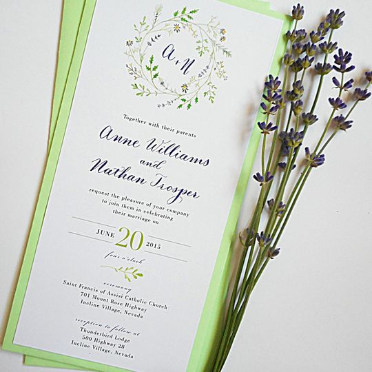 calligraphy wedding invitations wildflower wreath