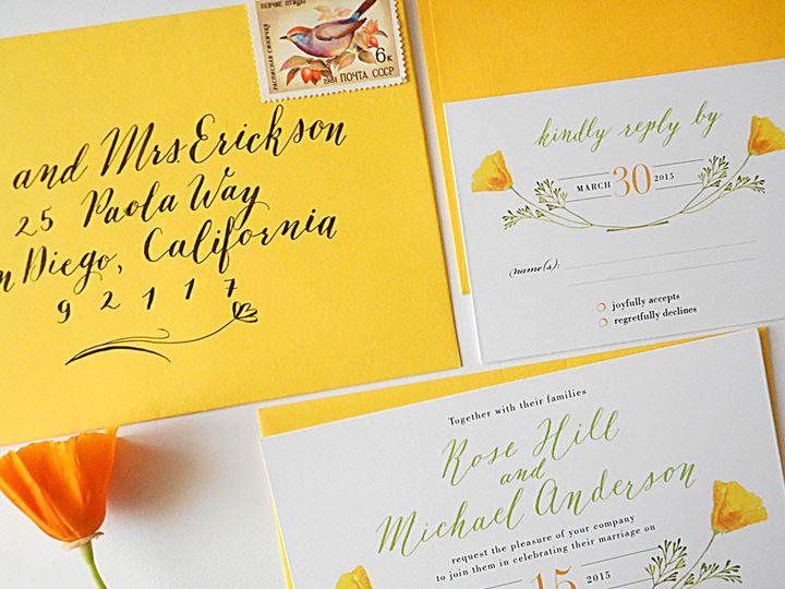Tmx 1472106466619 Calligraphy Wedding Invitations California Poppy Santa Rosa wedding invitation