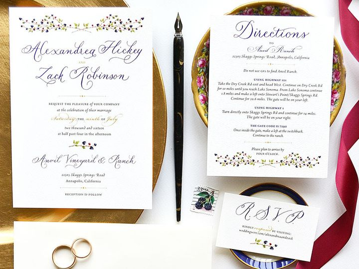 Tmx 1474862321934 Calligraphy Wedding Invitations Summer Blackberrie Santa Rosa wedding invitation