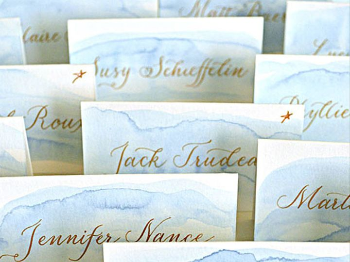 Tmx 1507920403409 Blue Watercolor Gold Calligraphy Place Cards Sq Santa Rosa wedding invitation