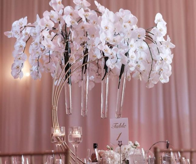 Orchids in a half moon stand