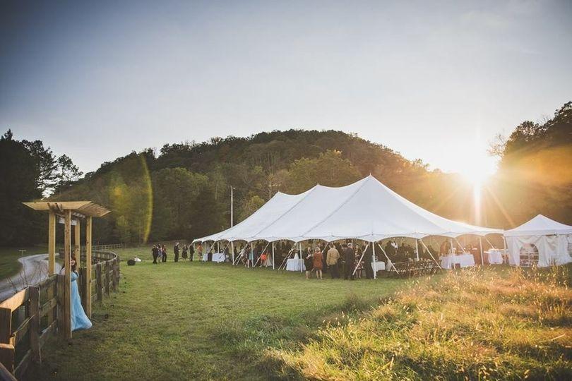 tent and sun set
