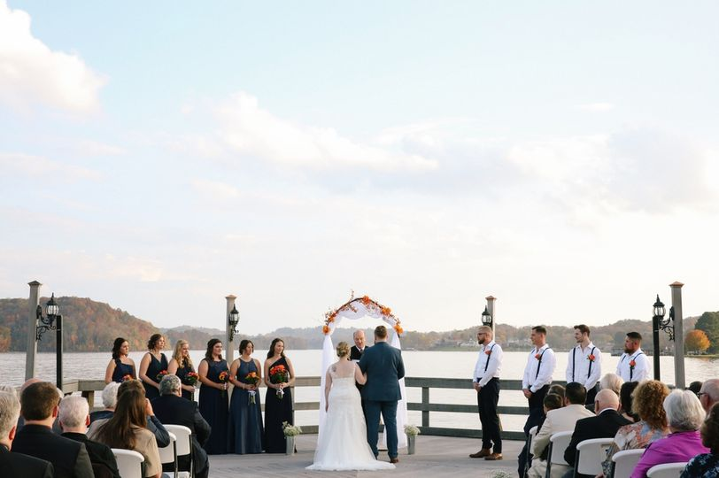 Exchanging vows by the waterfront