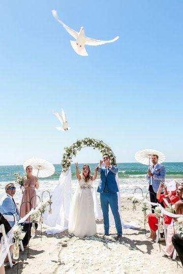 White doves release
