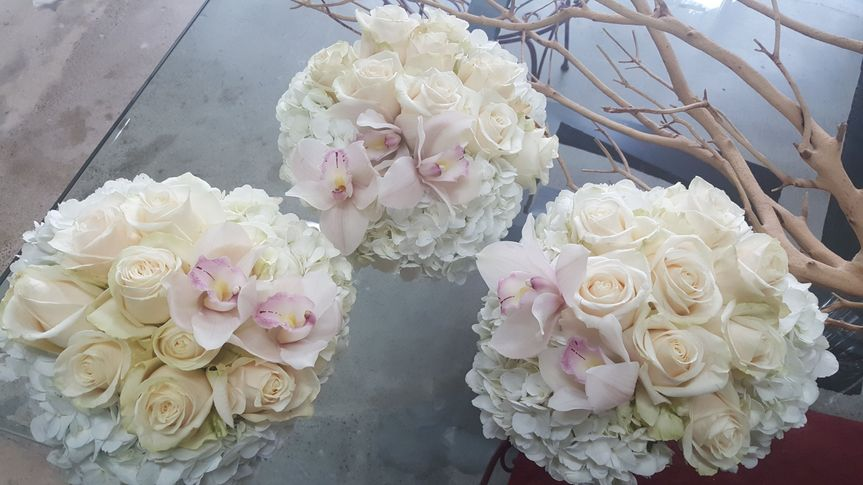 White roses bouquets