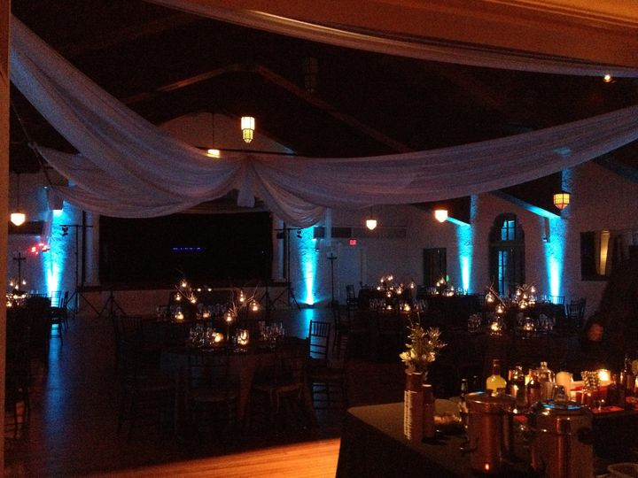 Candle lights, drapery, and blue uplights